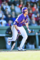 Clemson Tigers left fielder Drew Wharton (13) swings at a pitch during a game against the South Carolina Gamecocks at Fluor Field on March 3, 2018 in Greenville, South Carolina. The Tigers defeated the Gamecocks 5-1. (Tony Farlow/Four Seam Images)