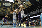 21 December 2013: North Carolina's Xylina McDaniel (34) and High Point's Teddy Vincent (23). The University of North Carolina Tar Heels played the High Point University Panthers in an NCAA Division I women's basketball game at Carmichael Arena in Chapel Hill, North Carolina. UNC won the game 103-71.