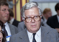 Baron Howe of Aberavon, aka Geoffrey Howe, Conservative Party politician, who served as deputy prime minister until his resignation in 1990. Pictured at 1993 Conservative annual conference. 199310002011<br />