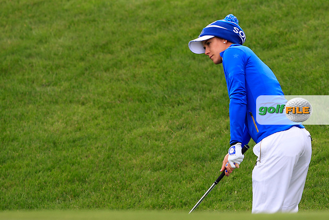 Azahara Munoz (EUR) on the 1st during Day 3 Singles at the Solheim Cup 2019, Gleneagles Golf CLub, Auchterarder, Perthshire, Scotland. 15/09/2019.<br /> Picture Thos Caffrey / Golffile.ie<br /> <br /> All photo usage must carry mandatory copyright credit (© Golffile | Thos Caffrey)