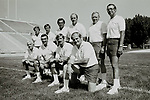 FTB 400 LL-8a<br /> <br /> 1981<br /> <br /> Coach Shots<br /> <br /> Standing Row: Chuck Stiggins, Garth Hall, Norm Chow, Mel Olsen, Tom Ramage, Ted Tollner<br /> <br /> Kneeling Row: Dick Felt, Roger French, Fred Whittingham, LaVell Edwards<br /> <br /> Photography by: Mark Philbrick/BYU<br /> <br /> Copyright BYU PHOTO 2009<br /> All Rights Reserved<br /> 801-422-7322<br /> photo@byu.edu