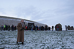 Newgrange Co Meath, 21th December winter solstice, No sun rise this year but a blanket of snow decended on the Tomb in Co Meath. Minister Mary Hanafin TD. visited the site to see the sunrise..Picture Fran Caffrey /www.newsfile.ie.