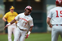 Kendall Pettis (7) of the Oklahoma Sooners rounds the bases after hitting a home run against the Missouri Tigers in game four of the 2020 Shriners Hospitals for Children College Classic at Minute Maid Park on February 29, 2020 in Houston, Texas. The Tigers defeated the Sooners 8-7. (Brian Westerholt/Four Seam Images)