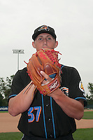 Akron RubberDucks pitcher Shawn Armstrong (37) prior to game against the Trenton Thunder at ARM & HAMMER Park on July 14, 2014 in Trenton, NJ.  Akron defeated Trenton 5-2.  (Tomasso DeRosa/Four Seam Images)