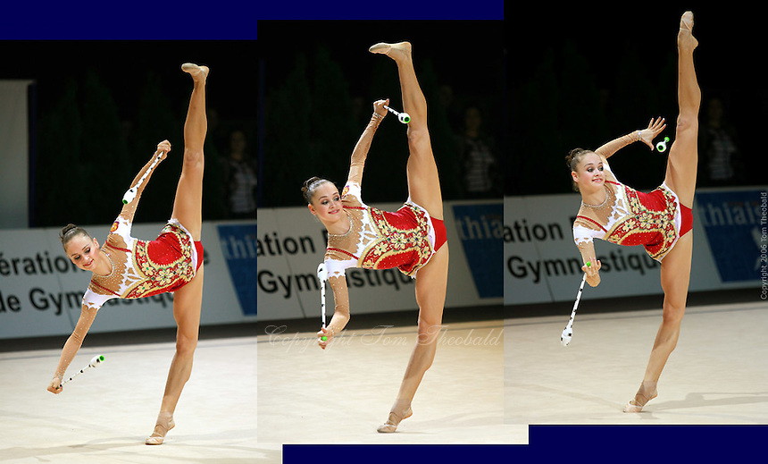 (L-R) Marina Shpekt of Russia balances with trunk in horizontal with clubs during All-Around competition at 2006 Thiais Grand Prix in Paris, France on March 25, 2006.  (Photo by Tom Theobald)<br />