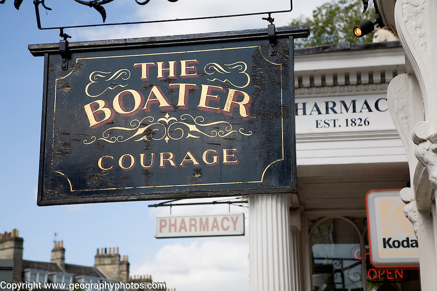 The Boater pub and pharmacy sign in  Argyle Street, Bath, Somerset, England