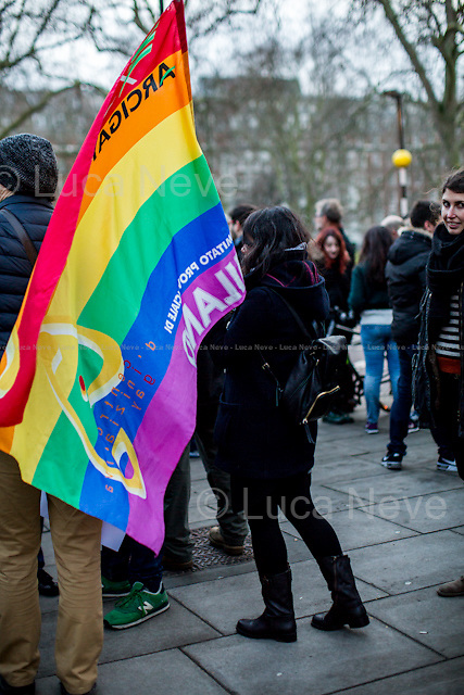 London, 23/01/2016. Today, London's Italian people and members of the public held a demonstration outside the Italian Embassy in London to call for ending &quot;the violation of human rights LGBT people&quot;. Similar demonstrations were held in more than hundred cities across Italy supporting the ddl - Decree-Law - Cirinn&agrave; (Family name of the Democratic Party PD Senator who presented the Law about same-sex unions) which supports the recognisement of the Civil Unions as specific social formations. The two partners can declare their union to the State Official in front of two witnesses (For more information please click here: http://bit.ly/1PMnaAB - source Wikipedia.org). From the organisers Facebook page: &lt;&lt; [&hellip;] We live in the UK, where our sentimental lives and our parenthood abilities are fully recognised under the law. Italian LGBT people cannot tell the same: in not recognising any form of same-sex couple and in denying the rights of children of same-sex couples, Italy wounds and humiliates the lives of Italian LGBT+ people. As Italian LGBT+ citizens and allies, we are outraged by this. Italy must end this violation of human rights, for which it has been condemned by the European Court of Human Rights. Further delays in the legal recognition of same-sex couples will only strengthen the apartheid. Lesbian, gay, bisexual and trans* people living in Italy cannot wait any longer: their lives are at stake. [&hellip;]&gt;&gt;.<br />