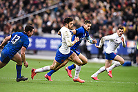 9th February 20020, Stade de France, Paris, France; 6-Nations international mens rugby union, France versus Italy;   Romain Ntamack  10 France  skips past the tackle from Braam Steyn of Italy