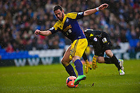 Saturday 25 January 2014<br /> Pictured: Alvaro Vazquez tries to take a shot on goal <br /> Re: Birmingham City v Swansea City FA Cup fourth round match at St. Andrew's Birimingham
