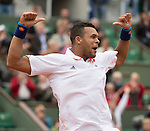Jo Wilfried Tsonga (FRA) defeats Jurgen Meltzer (AUT) 6-2, 6-3, 6-4 at  Roland Garros being played at Stade Roland Garros in Paris, France on May 28, 2014