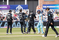 Matt Henry (New Zealand) celebrates following the dismissal of Jonny Bairstow (England) during England vs New Zealand, ICC World Cup Cricket at The Riverside Ground on 3rd July 2019