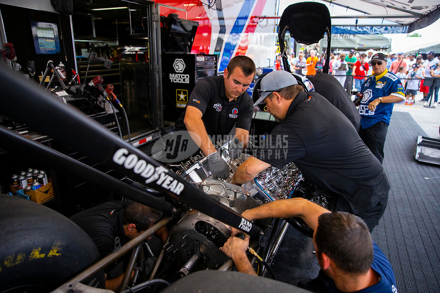 May 5, 2018; Commerce, GA, USA; Crew members for NHRA top fuel driver Antron Brown during qualifying for the Southern Nationals at Atlanta Dragway. Mandatory Credit: Mark J. Rebilas-USA TODAY Sports