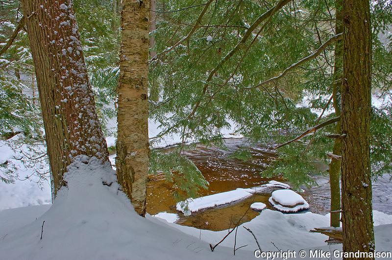 The North Branch of the Muskoka River at Wilson's Falls in winter. Muskoka Country.<br />Bracebridge<br />Ontario<br />Canada