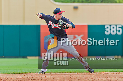 19 March 2015: Atlanta Braves infielder Phil Gosselin in Spring Training action against the Miami Marlins at Champion Stadium in the ESPN Wide World of Sports Complex in Kissimmee, Florida. The Braves defeated the Marlins 6-3 in Grapefruit League play. Mandatory Credit: Ed Wolfstein Photo *** RAW (NEF) Image File Available ***