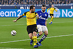 08.12.2018, Veltins-Arena, Gelsenkirchen, GER, 1. FBL, FC Schalke 04 vs. Borussia Dortmund, DFL regulations prohibit any use of photographs as image sequences and/or quasi-video<br /> <br /> im Bild Strafraumszene . verpasste Torchance von Jadon Sancho (#7, Borussia Dortmund) (li.) Daniel Caligiuri (#18, FC Schalke 04) (re.)<br /> <br /> Foto © nordphoto/Mauelshagen