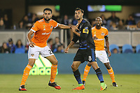 San Jose, CA - Saturday September 16, 2017: Leonardo, Chris Wondolowski during a Major League Soccer (MLS) match between the San Jose Earthquakes and the Houston Dynamo at Avaya Stadium.