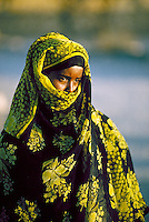 portrait of a young Somali (African) girl in traditional local dress. Somalia Africa.