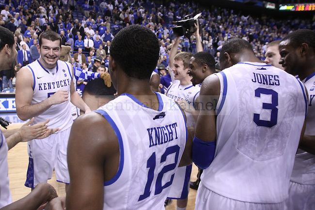 The UK basketball team celebrates their 68-66 victory during senior night over Vanderbilt at Rupp Arena on Wednesday, March 2, 2011. Photo by Scott Hannigan | Staff