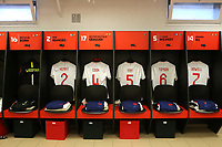 The England U21 shirts of Freddie Woodman, Jonjoe Kenny, Lewis Cook, Dael Fry, Fikayo Tomori and Kieran Dowell on display ahead of kick-off during Mexico Under-21 vs England Under-21, Tournoi Maurice Revello Final Football at Stade Francis Turcan on 9th June 2018