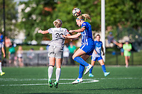 Boston, MA - Saturday June 24, 2017: Kristen Hamilton and Megan Oyster during a regular season National Women's Soccer League (NWSL) match between the Boston Breakers and the North Carolina Courage at Jordan Field.
