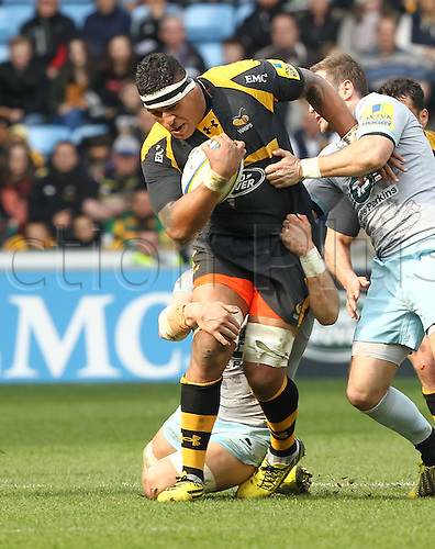 03.04.2016. Ricoh Arena, Coventry, England. Rugby Aviva Premiership. Wasps versus Northampton Saints. Wasps No8 Nathan Hughes on the charge.