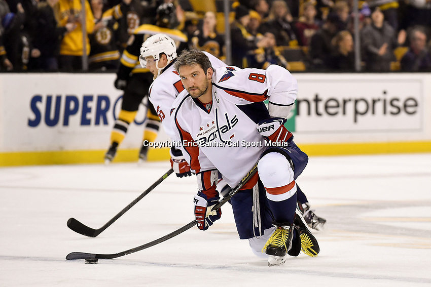 Tuesday, January 5, 2015: Washington Capitals left wing Alex Ovechkin (8) warms up before the start of the National Hockey League game between the Washington Capitals and the Boston Bruins, held at TD Garden, in Boston, Massachusetts. Washington beats Boston 3-2 in regulation time. Eric Canha/CSM
