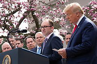 Richard Ashworth, President of Walgreens, speaks during a news conference with United States President Donald J. Trump, United States Vice President Mike Pence, members of the Coronavirus Task Force, and Industry Executives, in the Rose Garden at the White House in Washington D.C., U.S., on Friday, March 13, 2020.  Trump announced that he will be declaring a national emergency in response to the Coronavirus.  Credit: Stefani Reynolds / CNP/AdMedia