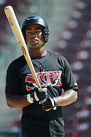 Josh Barfield of the Lake Elsinore Storm before a game at The Diamond on June 29, 2003 in Lake Elsinore, California. (Larry Goren/Four Seam Images)
