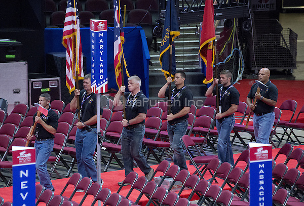 A color guard practices their routine on the floor of the Quicken Loans Arena prior to the start of the convention on Friday, July 15, 2016.<br /> Credit: Ron Sachs / CNP/MediaPunch<br /> (RESTRICTION: NO New York or New Jersey Newspapers or newspapers within a 75 mile radius of New York City)
