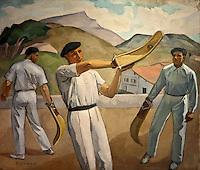 Europe/France/Aquitaine/64/Pyrénées-Atlantiques/Pays-Basque/Bayonne: Musée Basque  - Trois joueurs de chistera par Marie-Lucie-Hélène Elissague dite Elizaga (1896- 1981)