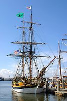 The Brig Lady Washington visits Oakland's Jack London Square in March of 2006. Launched in 1989, and operated by the Grays Harbor Historical Seaport of Aberdeen Washington, the Lady Washington and her sailing partner the Hawaiian Chieftan travel the West Coast of North America to ?educate, inspire, and empower all those that cross her decks.? The Lady Washington is a replica of the original Lady Washington which was launched in 1750 and served as a Privateer during the Revolutionary War. In 1790 the original Lady W, along with the Columbia Rediviva, sailed around Cape Horn to the Pacific Northwest where it was instrumental in establishing trade between New England, the Pacific Northwest, and the Orient. Her presence helped to establish a basis for an American territorial claim to what would one day become the states of Oregon and Washington. Photographed 3/06