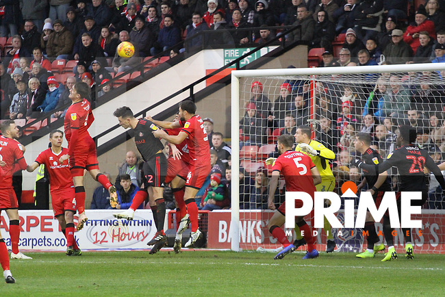 A corner is crossed in during the Sky Bet League 1 match between Walsall and Sunderland at the Banks's Stadium, Walsall, England on 24 November 2018. Photo by James  Gill / PRiME Media Images.