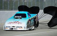 Feb. 10, 2012; Pomona, CA, USA; NHRA top alcohol funny car driver Steve Burck during qualifying at the Winternationals at Auto Club Raceway at Pomona. Mandatory Credit: Mark J. Rebilas-