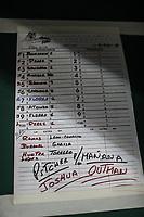 Detalle de lineup naranjeros, durante juego de beisbol de la Liga Mexicana del Pacifico temporada 2017 2018. Tercer juego de la serie de playoffs entre Mayos de Navojoa vs Naranjeros. 04Enero2018. (Foto: Luis Gutierrez /NortePhoto.com)