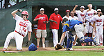 MIDDLETOWN CT. 09 June 2018-060918SV12- #24 Ethan Gillotti of Wolcott slides in safe at home plate as catcher #4 Zack Edwards of Seymour gets the late throw in the 4th inning during the CIAC Class M baseball championship in Middletown Saturday. <br /> Steven Valenti Republican-American