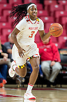 College Park, MD - DEC 6, 2016: Maryland Terrapins guard Kaila Charles (3) brings the ball up court during game between Towson and Maryland at XFINITY Center in College Park, MD. The Terps defeated the Tigers 97-63. (Photo by Phil Peters/Media Images International)