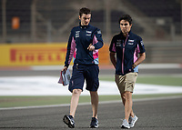 Sergio PEREZ (MEX) (SPORTPESA RACING POINT F1 TEAM) (R) during the Bahrain Grand Prix at Bahrain International Circuit, Sakhir,  on 31 March 2019. Photo by Vince  Mignott.