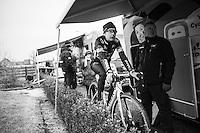 Jolien Verschueren (BEL/Telenet-Fidea) warming up next to her camper pre-race<br /> <br /> GP Sven Nys 2017