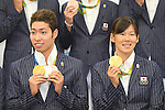 (L-R) Kosuke Hagino, Rie Kaneto (JPN), <br /> AUGUST 17, 2016 - Swimming : Japanese Swimming medalist attend a media conference at Ajinomoto National Training Center, Tokyo, Japan. Japanese Swimming players won 2 gold medals, 2 silver medals and 3 bronze medals in the Rio 2016 Olympic Games. (Photo by AFLO SPORT)