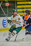 4 January 2014:  University of Vermont Catamount defender Sarah Campbell, a Junior from Saratoga Springs, NY, in action against the Syracuse University Orange, in non-conference play at Gutterson Fieldhouse in Burlington, Vermont. The Orange defeated the UVM Lady Cats 4-3 in their first ever NCAA meeting. Mandatory Credit: Ed Wolfstein Photo *** RAW (NEF) Image File Available ***