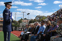 The Blue Eagles Honor Guard presented a flag to Maxine Edens during a Memorial service held for her husband Coach Bennie Eden at the Point Loma High School Football stadium that was recently renamed in his honor, Saturday February 23 2008.