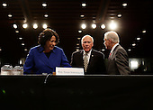 Washington, DC - July 13, 2009 -- United States Supreme Court nominee Judge Sonia Sotomayor is guided to her seat by Committee Chairman Senator Patrick Leahy (Democrat of Vermont) on the first day of confirmation hearings before the Senate Judiciary Committee on Capitol Hill in Washington on July 13, 2009. At right is U.S. Senator Jeff Sessions (Republican of Alabama)..Credit: George Bridges - Pool via CNP