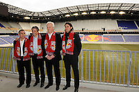 New York Red Bulls assistant coach Richie Williams, general manager and sporting director Erik Soler, head coach Hans Backe, and goalkeeper coach Des McAleenan pose for photos after a press conference at Red Bull Arena in Harrison, NJ, on January 13, 2010.