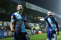 Luke O'Nien of Wycombe Wanderers (left) celebrates after he scores his team's second goal of the game against Morcambe to make it 2-0 during the Sky Bet League 2 match between Wycombe Wanderers and Morecambe at Adams Park, High Wycombe, England on 12 November 2016. Photo by David Horn.