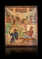 Detail of the Roman fresco wall painting of all the characters in the story of Admetus who, aided by Apollo made the Fates agree not to take Admetus on his 'death day' if he could find someone else to replace him, his wife, Alcestis, dies instead of Admetus but as she decends into the Underworld he discovers that he no longer wants to live without her, Pompeii House of the Tragic Poet, inv 9026, Naples National Archaeological Museum, black background