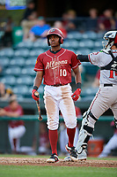 Altoona Curve third baseman Ke'Bryan Hayes (10) at bat during a game against the Richmond Flying Squirrels on May 15, 2018 at Peoples Natural Gas Field in Altoona, Pennsylvania.  Altoona defeated Richmond 5-1.  (Mike Janes/Four Seam Images)
