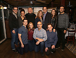 """Front Row: Matt Doyle, Alex Finke, Brad Oscar, Joseph Taylor Back Row: Bill Buckhurst, Rachel Edwards, Duncan Smith, Siobhan McCarthy, Jeremy Secomb, Betsy Morgan and Simon Kenny attend a press reception for the cast of The Tooting Arts Club production of """"Sweeney Todd''  at AOC L'aile ou la Cuisse on February 2, 2017 in New York City."""