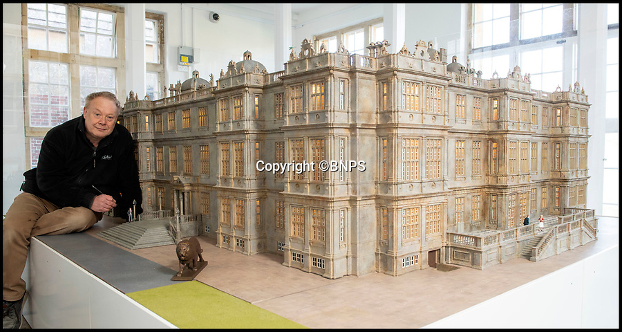 BNPS.co.uk (01202 558833)<br /> Pic: PhilYeomans/BNPS<br /> <br /> A new 'bronze ' lion has been 3D printed.<br /> <br /> This stunning model of one of Britain's finest stately homes has been painstakingly restored after languishing in a store room for the last seven years.<br /> <br /> The 1/25 scale model of Longleat House in Wiltshire was commissioned by the 6th Marquess of Bath in 1988 and went on display in the 16th Century mansion's butchery.<br /> <br /> But it was broken up into 50 pieces and put into storage when the home underwent renovations several years ago.<br /> <br /> Kim Ward, 60, and his six man team have spent the past two months restoring the model to its former glory.