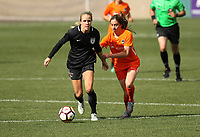Portland, OR - Wednesday March 14, 2018: Alyssa Mautz, Allison Wetherington during a National Women's Soccer League (NWSL) pre season match between the Houston Dash and the Chicago Red Stars at Merlo Field.