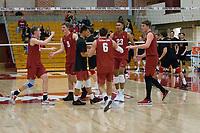 STANFORD, CA - December 30, 2017: Leo Henken, Russell Dervay, Stephen Moye, Evan Enriques, Jaylen Jasper, Eric Beatty at Burnham Pavilion. The Stanford Cardinal defeated the Calgary Dinos 3-1.